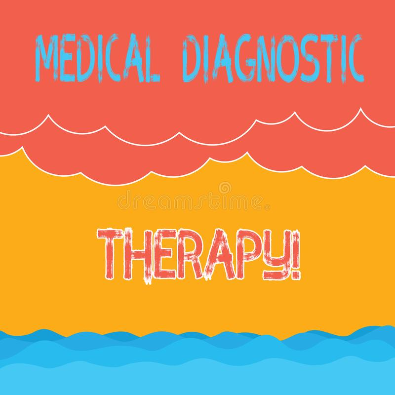 Segno del testo che mostra terapia diagnostica medica La foto concettuale che determina la dimostrazione è base di malattia sul s illustrazione di stock