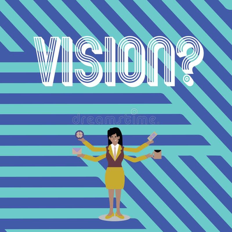 Segno del testo che mostra Visionquestion Impegno concettuale della società della foto che descrive la donna di affari realistica illustrazione di stock