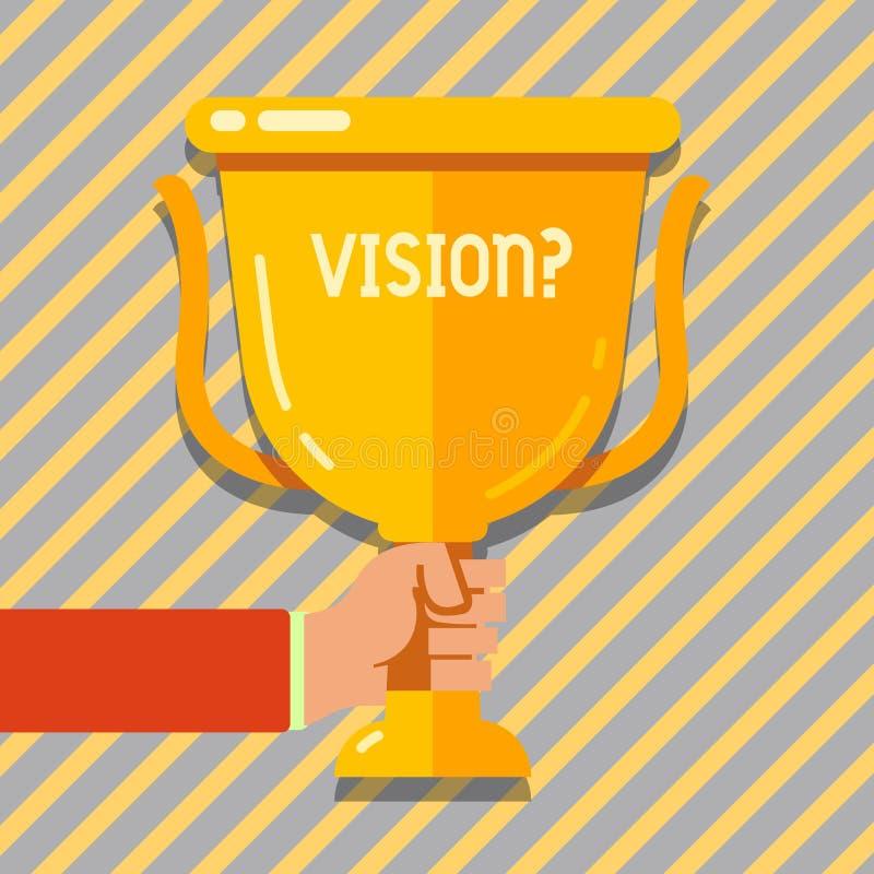 Segno del testo che mostra Visionquestion Impegno concettuale della società della foto che descrive la tenuta realistica futura d royalty illustrazione gratis