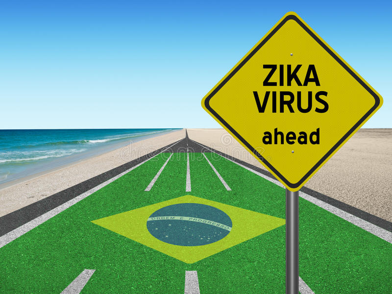 Segno del virus di Zika avanti sulla strada nel Brasile fotografia stock libera da diritti