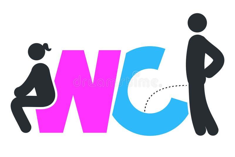 Segno del WC per la toilette Icone del piatto della porta della toilette Uomini e donne Vec royalty illustrazione gratis