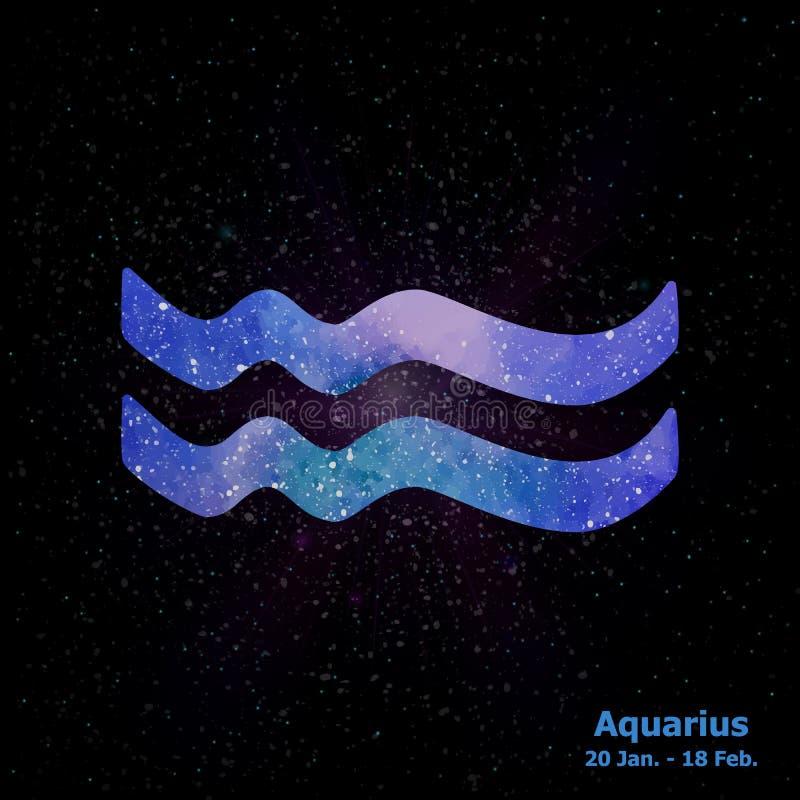 Segno dell'acquerello dell'acquario dello zodiaco sul fondo dello spazio della stella illustrazione vettoriale