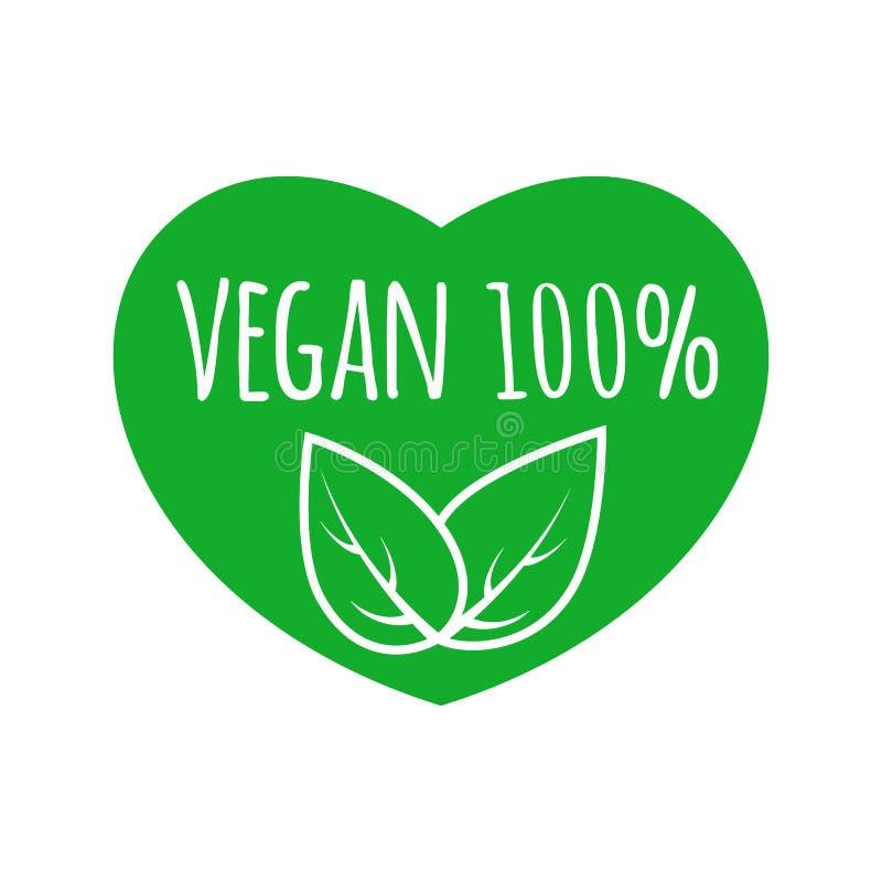 Segno dell'alimento del vegano con le foglie nella progettazione di forma del cuore logo 100% di vettore del vegano Marchio verde illustrazione di stock