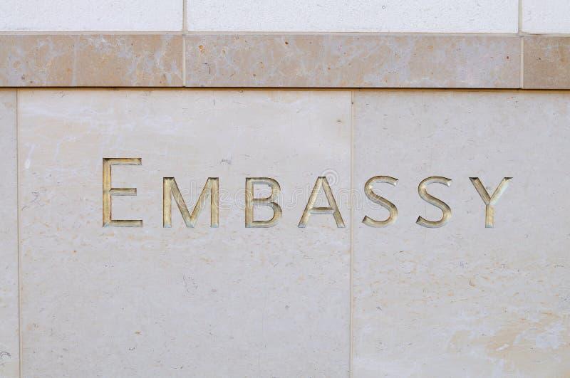 Segno dell'ambasciata fotografia stock libera da diritti