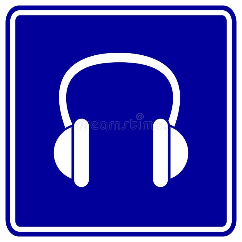Segno Dell Azzurro Delle Cuffie Di Vettore Fotografie Stock Libere da Diritti