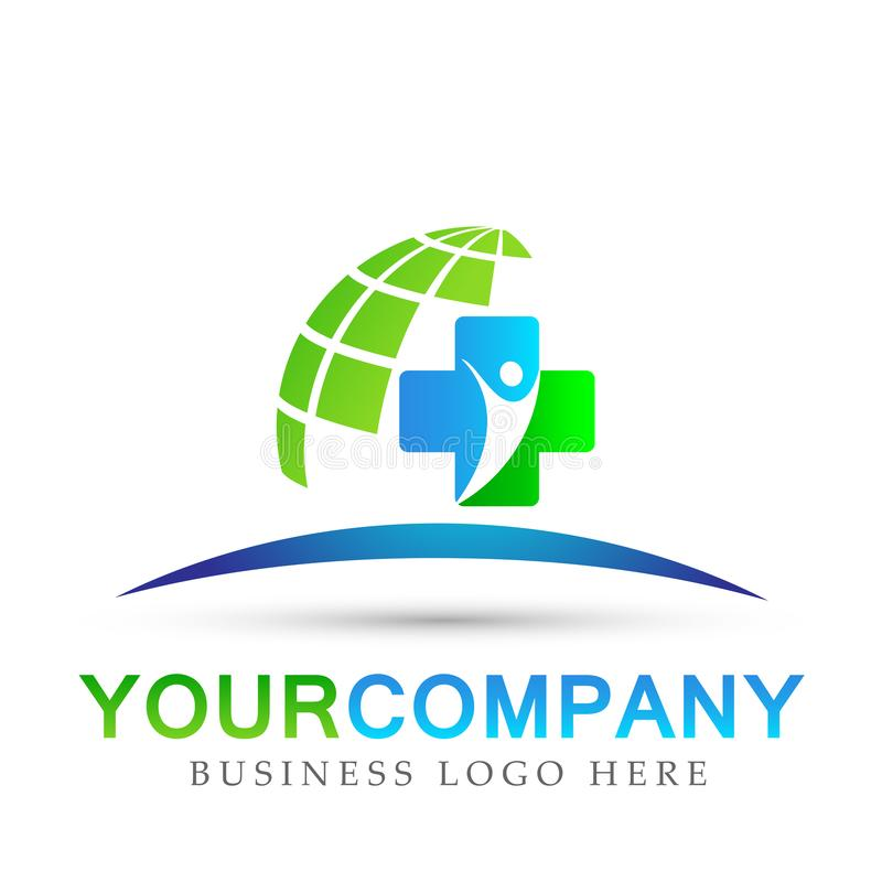 Segno dell'elemento dell'icona di logo di concetto di salute della famiglia del globo di assistenza medica su fondo bianco illustrazione vettoriale
