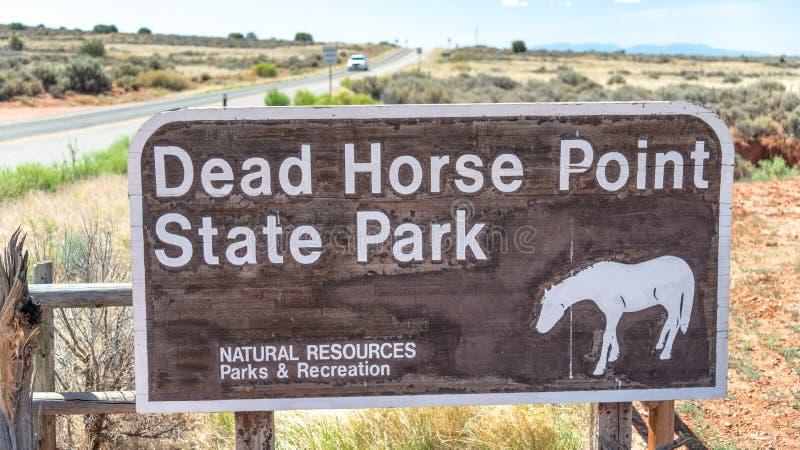 Segno dell'entrata del parco di stato del punto del cavallo morto, Utah immagini stock libere da diritti
