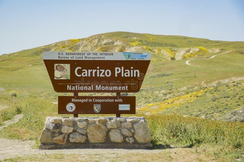 Segno dell'entrata della pianura di Carrizo fotografie stock libere da diritti