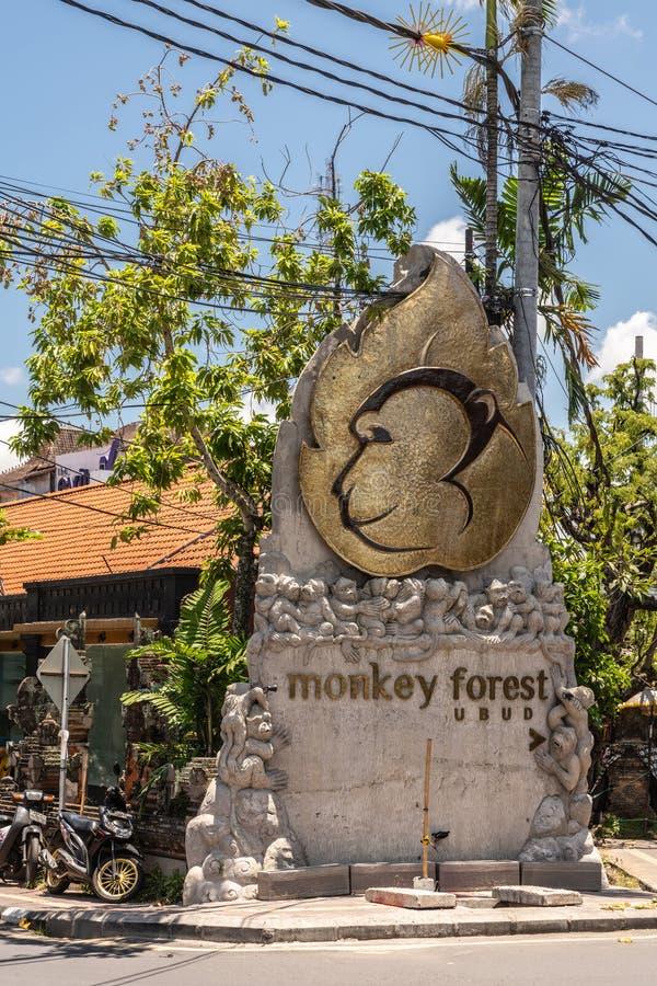 Segno dell'entrata della scimmia sacra Forest Sanctuary, Ubud Bali Indonesia immagine stock