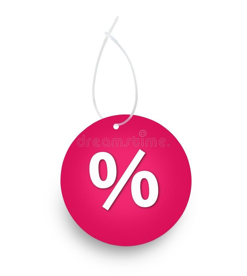 Segno dell'etichetta delle percentuali di colore rosso fotografia stock libera da diritti