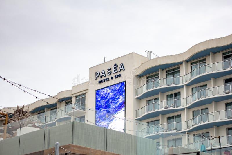 Segno dell'hotel di Pasea fotografia stock libera da diritti