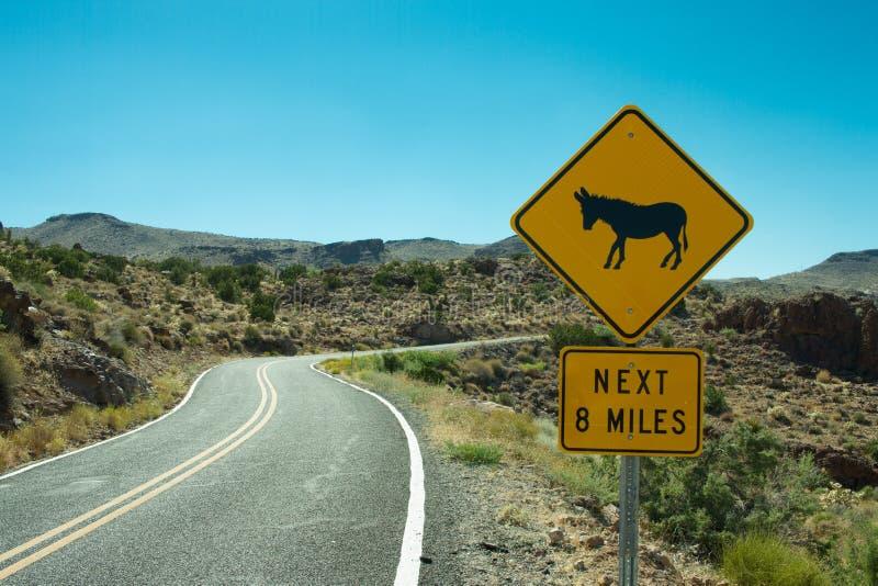 Segno dell'incrocio dell'asino di Route 66 fotografia stock libera da diritti