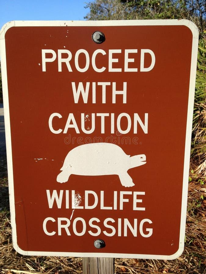 Segno dell'incrocio della fauna selvatica ad un parco di stato a Napoli, FL fotografia stock libera da diritti