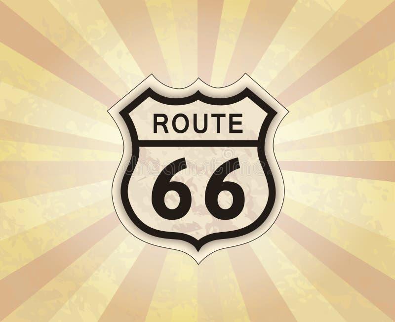 Segno dell'itinerario 66 Icona americana della strada Fondo di U.S.A. di viaggio retro illustrazione di stock