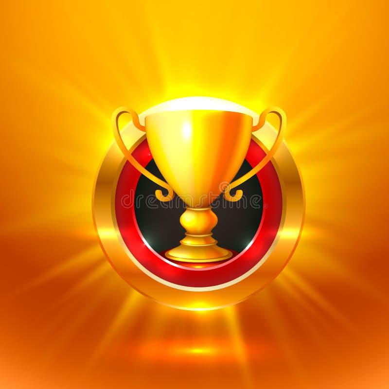 Segno dell'oro della tazza del vincitore oggetto illustrazione vettoriale