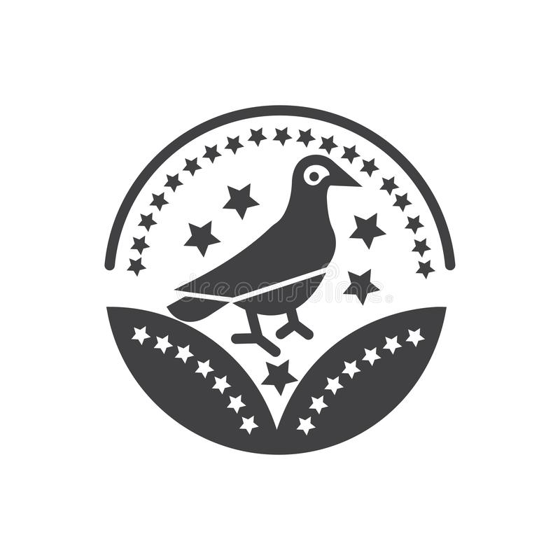 Segno dell'uccello di vettore dell'icona del premio dell'uccello per il vostri sito Web o apps mobili illustrazione di stock