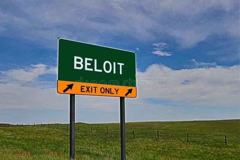 Segno dell'uscita della strada principale degli Stati Uniti per Beloit immagine stock