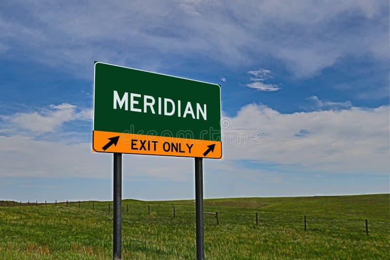 Segno dell'uscita della strada principale degli Stati Uniti per il meridiano fotografia stock