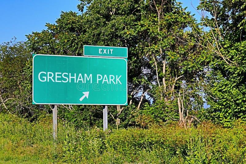 Segno dell'uscita della strada principale degli Stati Uniti per il parco di Gresham fotografia stock