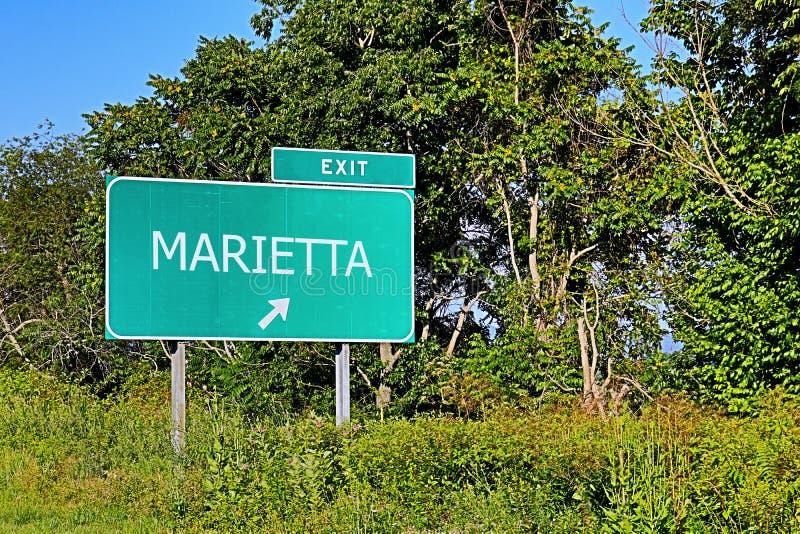 Segno dell'uscita della strada principale degli Stati Uniti per Marietta immagini stock