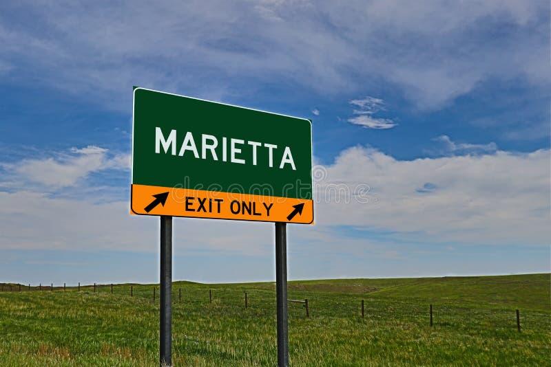 Segno dell'uscita della strada principale degli Stati Uniti per Marietta fotografia stock