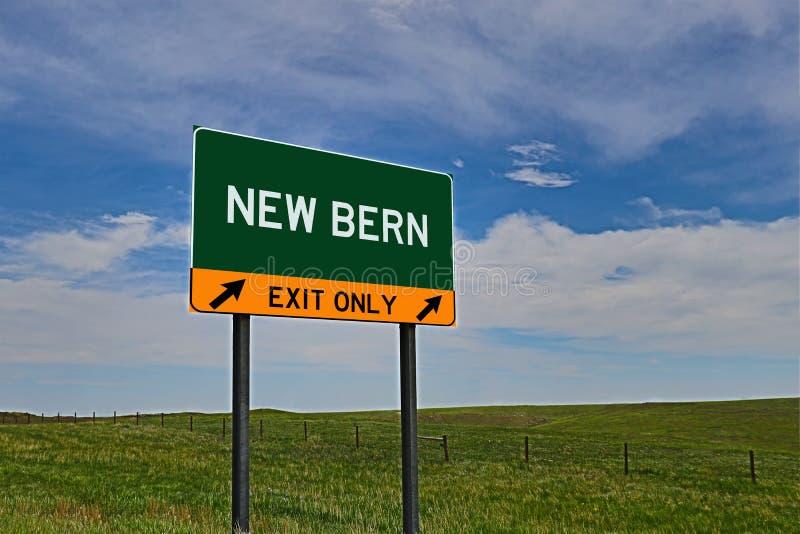 Segno dell'uscita della strada principale degli Stati Uniti per nuova Berna fotografie stock libere da diritti