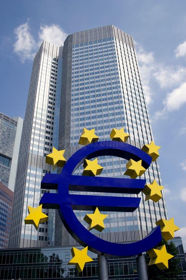 Segno della Banca Centrale Europea immagine stock libera da diritti