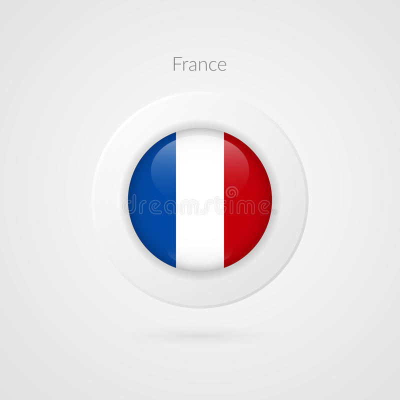 Segno della bandiera del francese di vettore Simbolo isolato del cerchio della Francia Icona dell'illustrazione del paese europeo illustrazione di stock