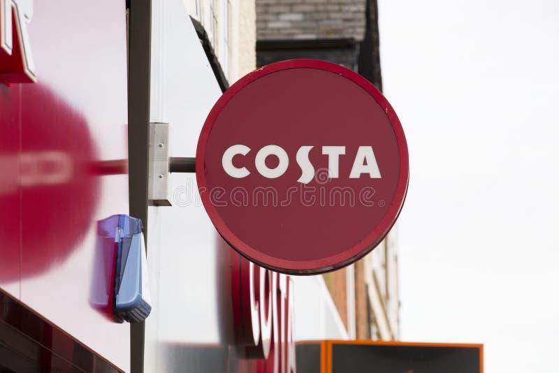 Segno della caffetteria della Costa - Scunthorpe, Lincolnshire, Kingdo unito fotografia stock libera da diritti