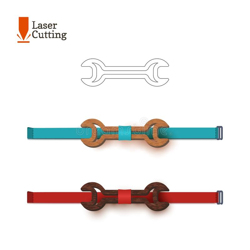 Segno della chiave del whith del modello del farfallino del taglio del laser Vector la siluetta per il taglio del farfallino su u royalty illustrazione gratis