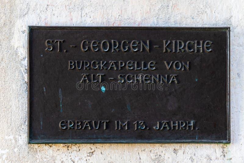Segno della chiesa, Sankt Georgen Kirche dell'entrata in Schnena Scena, Tirolo del sud, Italia europa fotografia stock libera da diritti