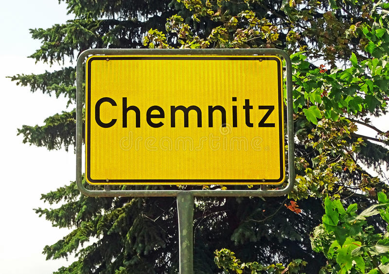 Segno della città di Chemnitz (Germania) immagine stock libera da diritti