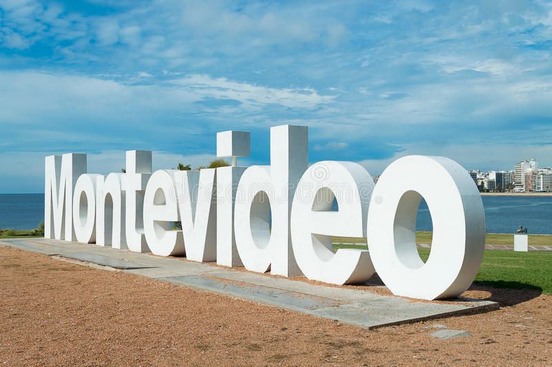 Segno della città di Montevideo immagini stock