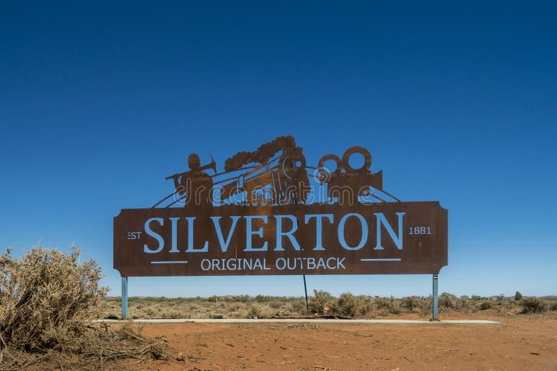 Segno della città di Silverton, Silverton, entroterra, NSW, Australia fotografia stock libera da diritti