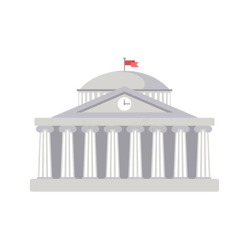 Segno della costruzione dell'università, banca, museo, biblioteca, Parlamento Architettura romana classica della Grecia illustrazione di stock