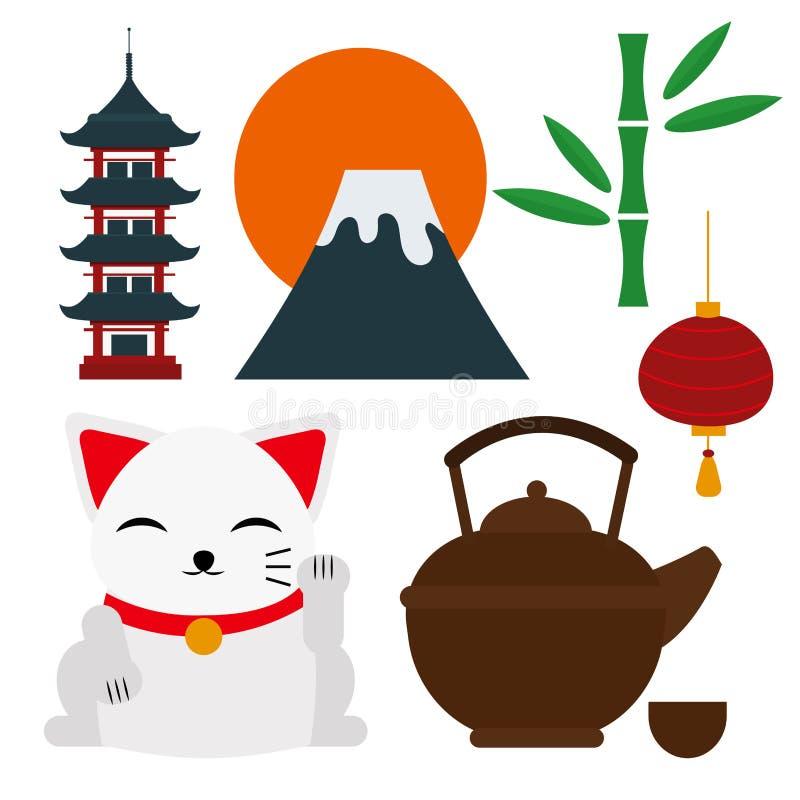 Segno della cultura della raccolta delle icone di vettore di viaggio del punto di riferimento del Giappone illustrazione vettoriale