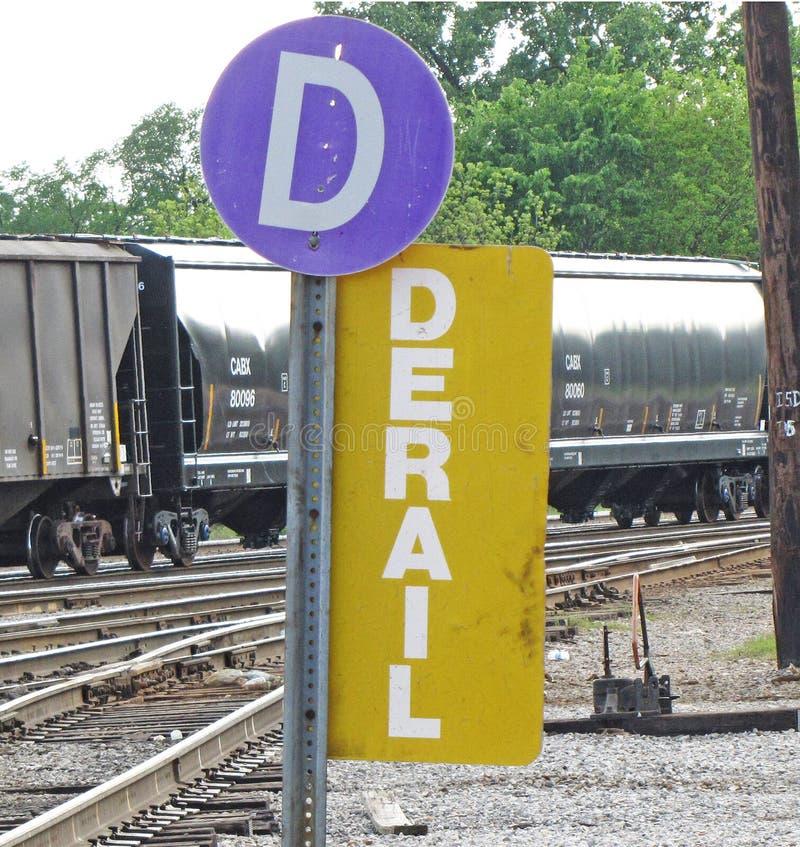 Segno della ferrovia di Derail fotografia stock libera da diritti
