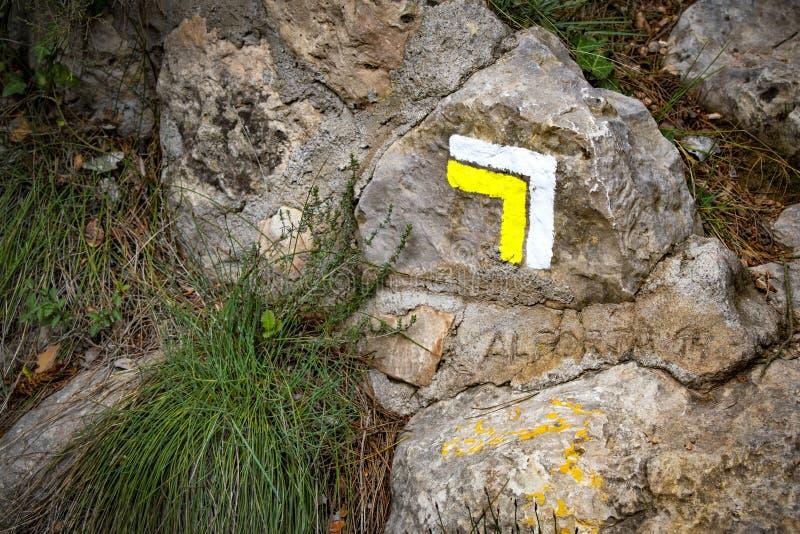 Segno della guida per le passeggiate della montagna o di escursione fotografie stock libere da diritti