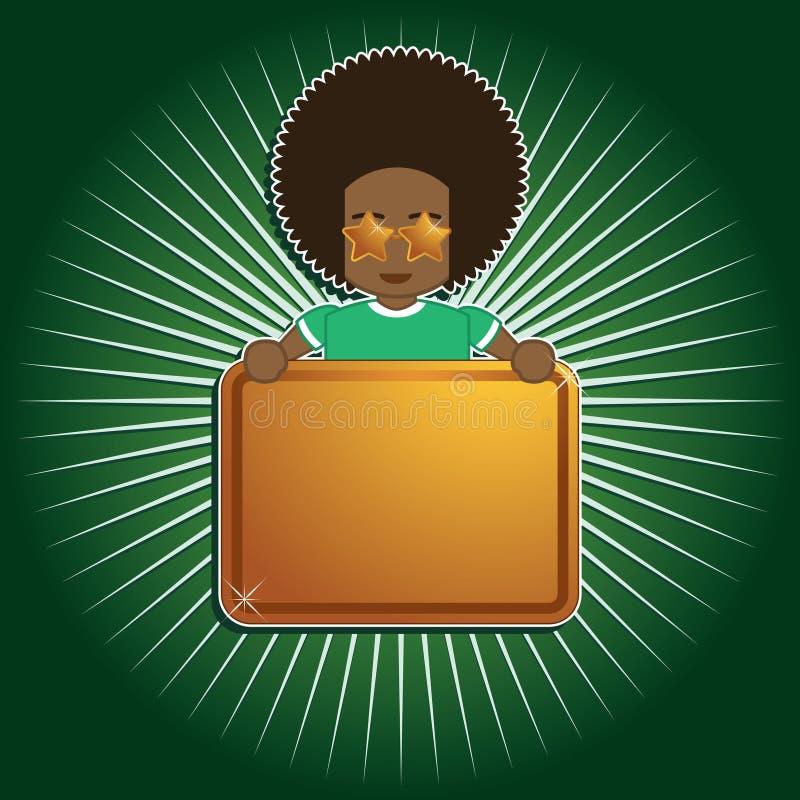 Segno della holding del ragazzo di Afro royalty illustrazione gratis