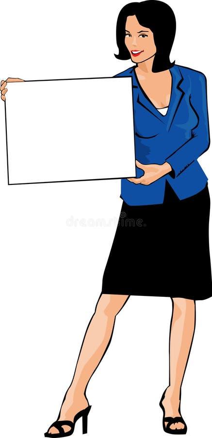Segno della holding della donna di affari illustrazione di stock