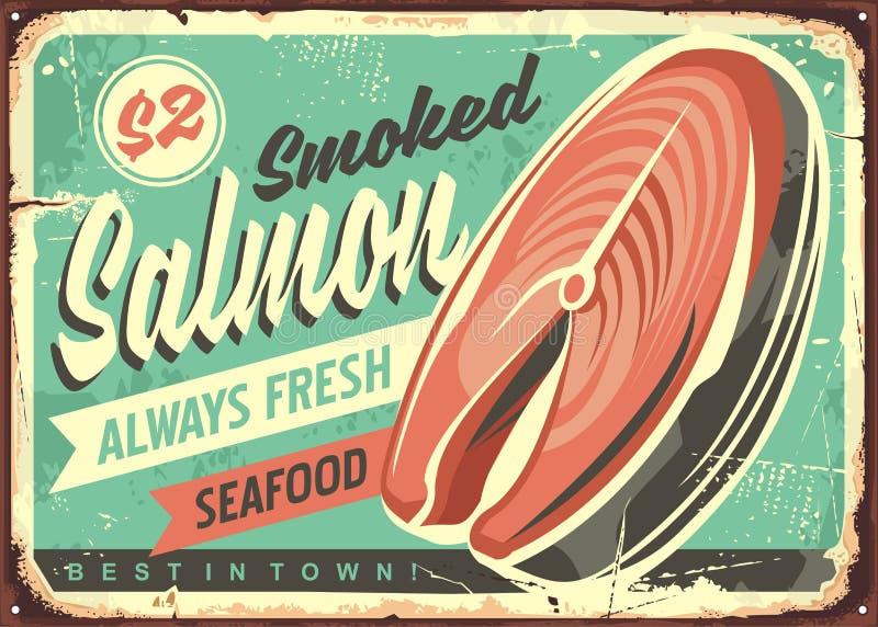 Segno della latta di vettore del pesce del salmone affumicato royalty illustrazione gratis