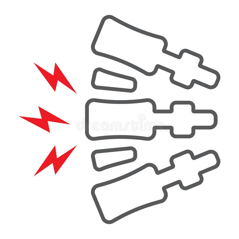 Segno della linea icona, del corpo e di dolore doloroso e posteriore di dolore della spina dorsale, grafica vettoriale, un modell illustrazione vettoriale