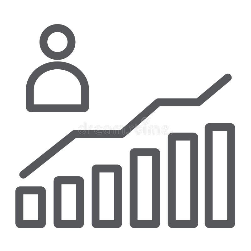 Segno della linea icona, di aumento e del diagramma, della persona e del grafico di crescita di carriera, grafica vettoriale, un  illustrazione vettoriale