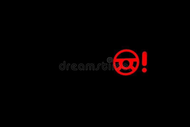 Segno della luce d'avvertimento del servosterzo, indicatore leggero dell'automobile, indicatore dell'interno rosso fotografia stock