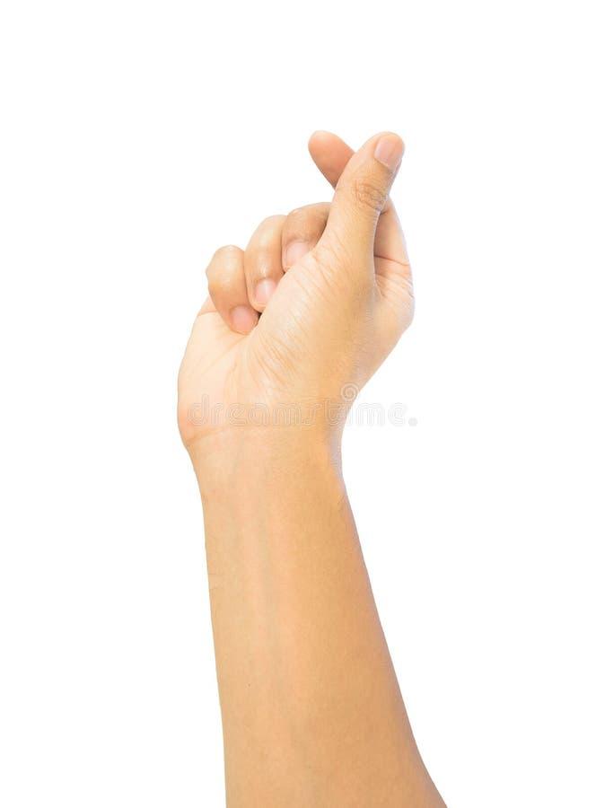 Segno della mano del dito del Mini-cuore, posizione di tendenza di simbolo di amore, isolatio immagine stock libera da diritti