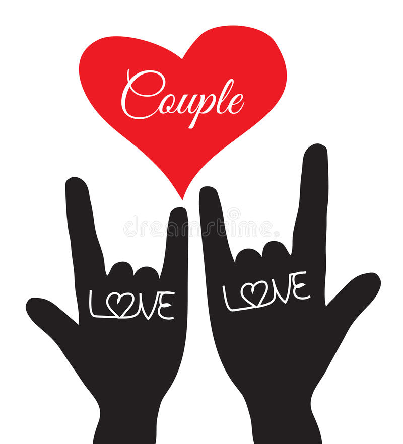 Segno della mano di amore Simbolo di amore Coppie, amante Illustrazione di vettore illustrazione vettoriale