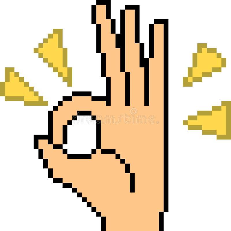 Segno della mano di arte del pixel di vettore alright royalty illustrazione gratis