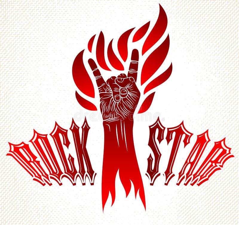 Segno della mano della roccia su fuoco, gesto caldo di rock-and-roll di musica in club concerto di festival del hard rock, di fia royalty illustrazione gratis