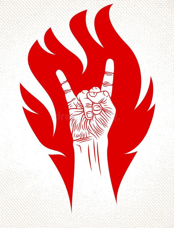 Segno della mano della roccia su fuoco, gesto caldo di rock-and-roll di musica in club concerto di festival del hard rock, di fia illustrazione di stock