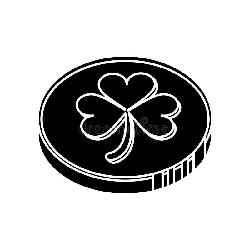 Segno della moneta di giorno di St Patrick della siluetta illustrazione vettoriale